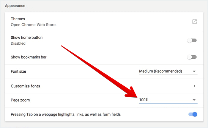 Adjust Page Zoom Level for Webpages in Chrome