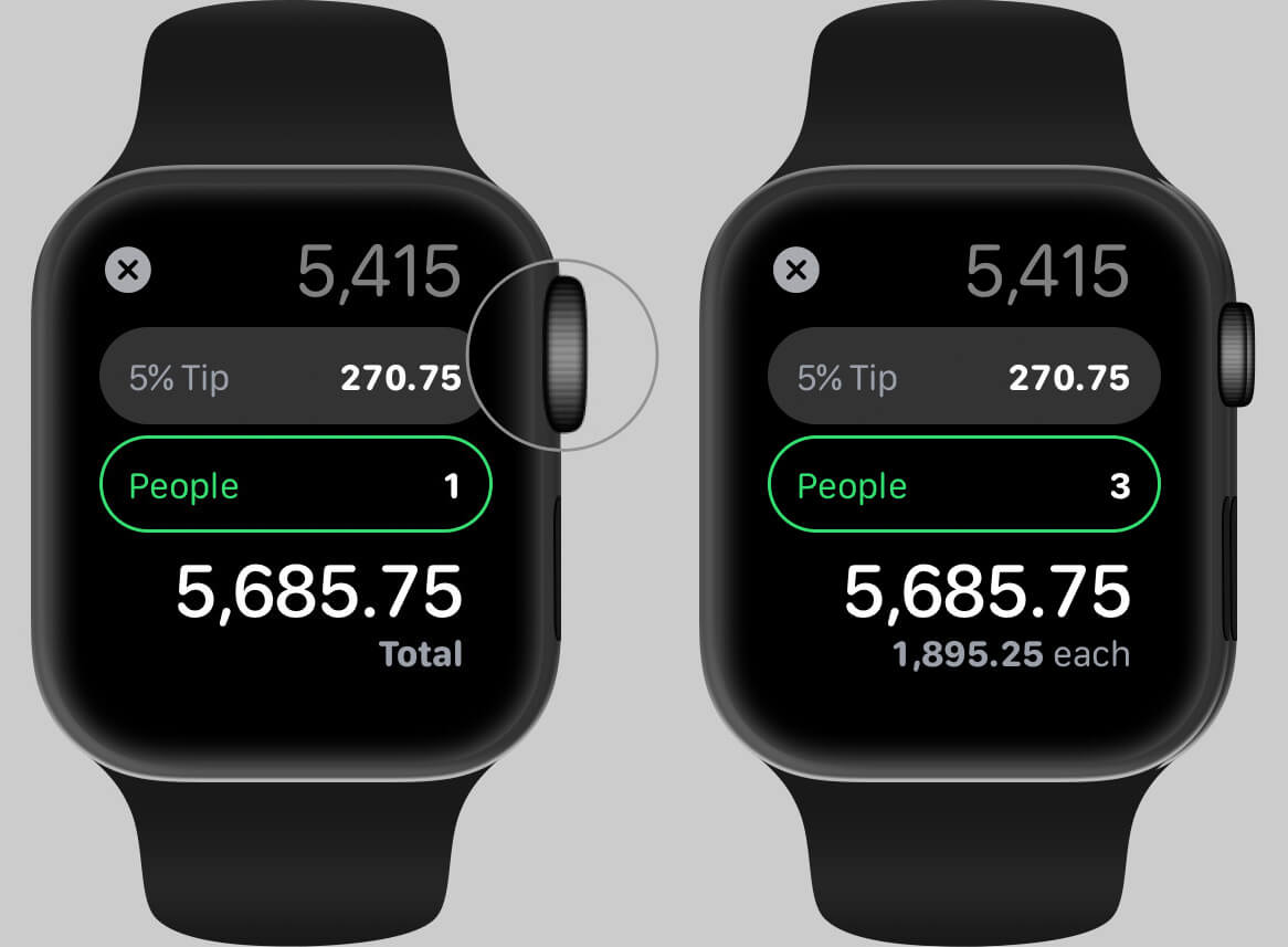 Adjust People for TIP in Calculator App on Apple Watch