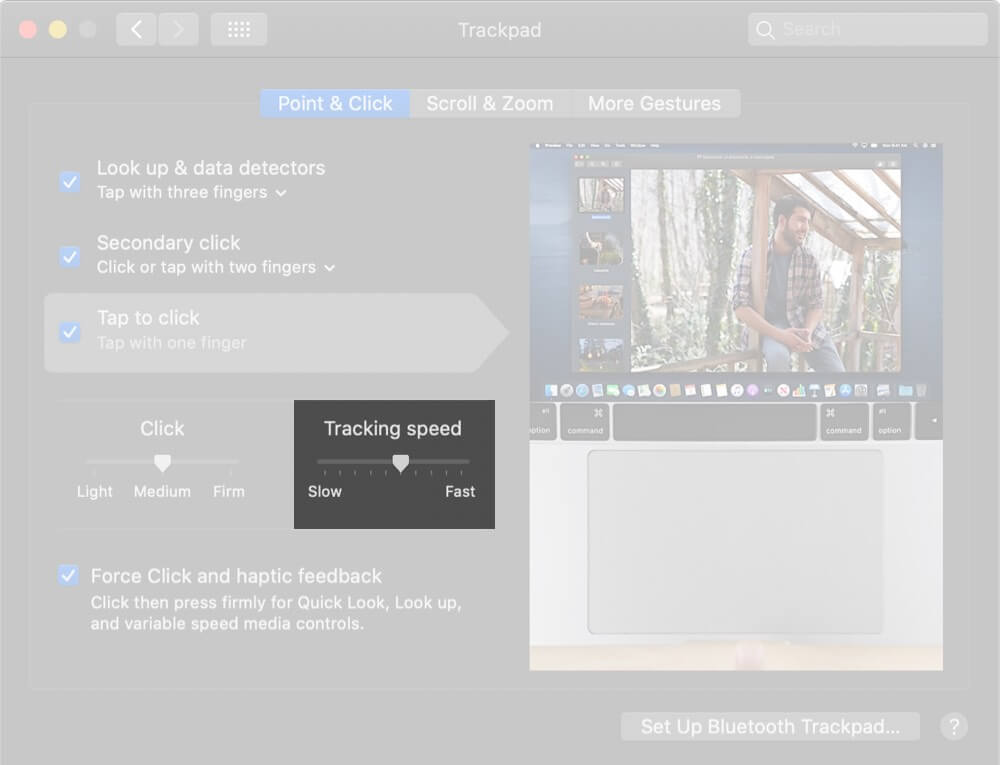 Adjust Tracking Speed on Trackpad Settings on Mac