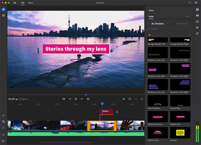 Adobe Premiere Rush Video Editing Software for YouTube
