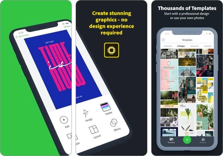 Adobe Spark Post Graphic Desing iPhone and iPad App Screenshot
