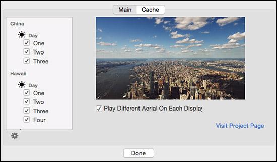 Aerial ScreenSaver Options