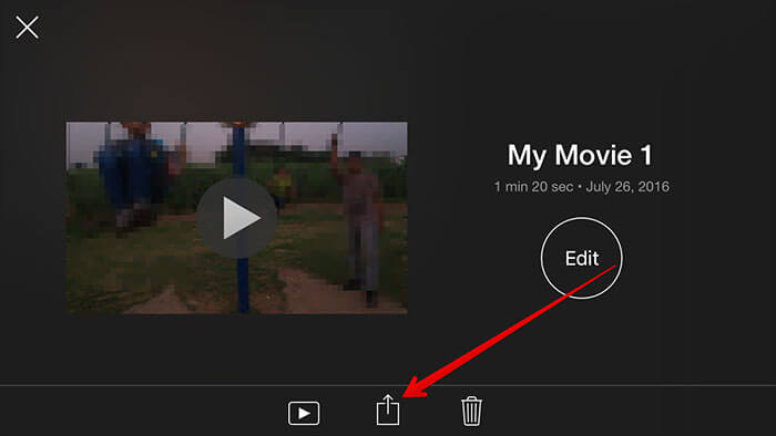 After Edit Tap on Share Sheet in iMovie iPhone App