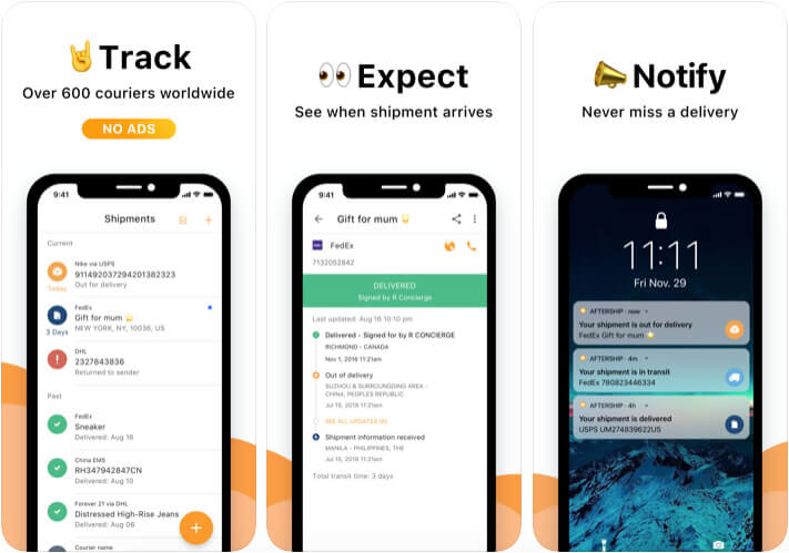 AfterShip Package Tracker iPhone and iPad App Screenshot