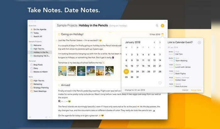 Повестка дня Mac Note Создание снимка экрана приложения