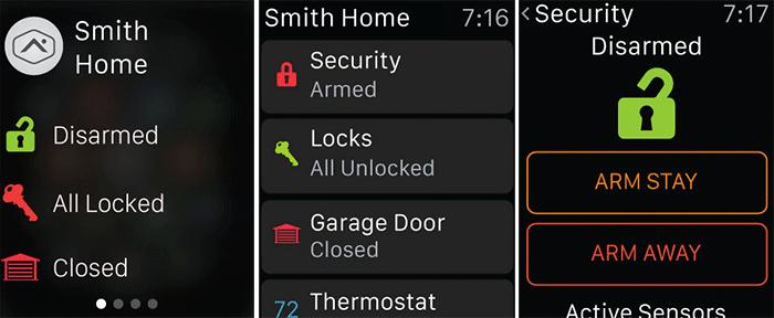 Alarm.com Apple Watch and iPhone App Screenshot