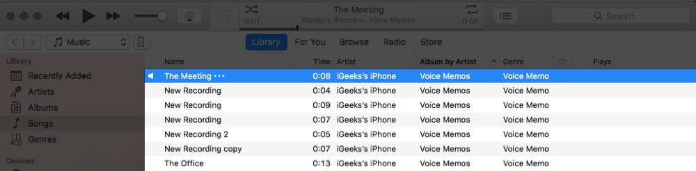 All Voice Memos are Transferred from iPhone to iTunes