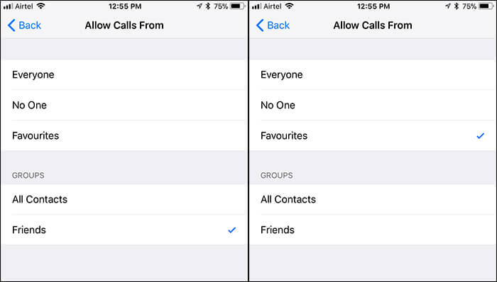 Allow Calls from Favourites in Do Not Disturb on iPhone