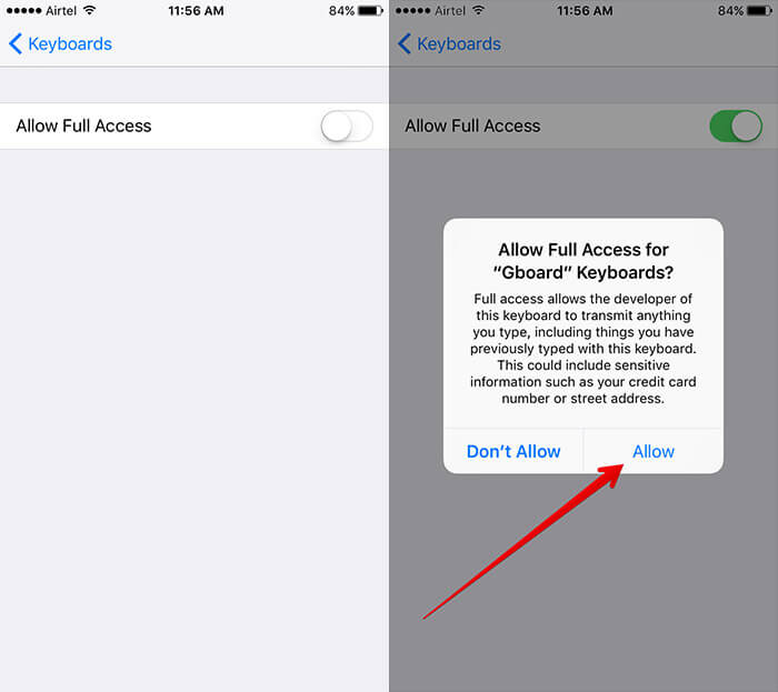 Allow Full Access to Gboard on iPhone