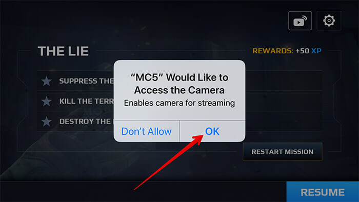 Allow Game to Access Your iPhone Camera