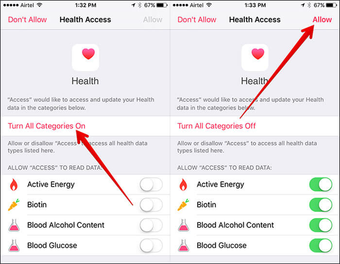 Allow Health Data Access to QS iPhone App