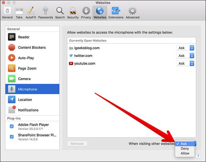 Allow Safari to Access Microphone in macOS High Sierra