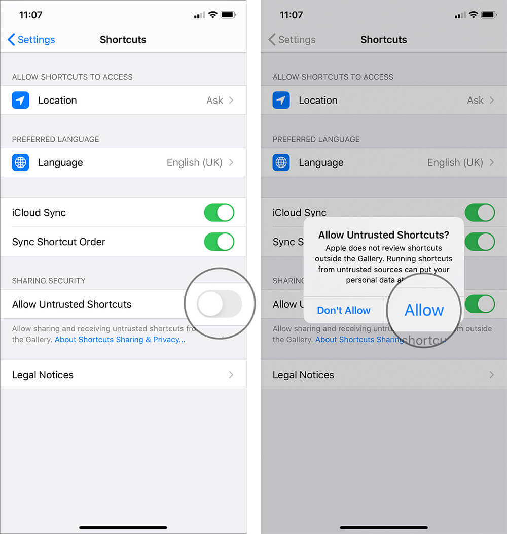 Allow Untrusted Shortcuts in iOS 13 and iPadOS