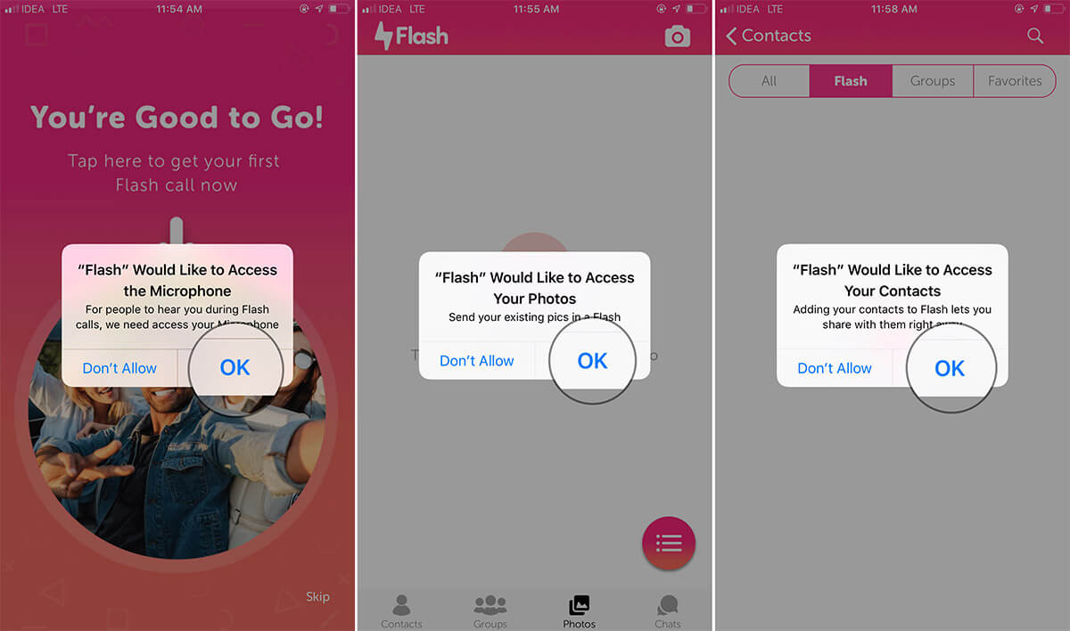 Allow iOS Flash App to access your Contacts, Photos, Camera, and Microphone