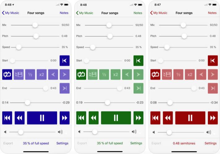 Amazing Slow Downer iPhone and iPad Drumming App Screenshot