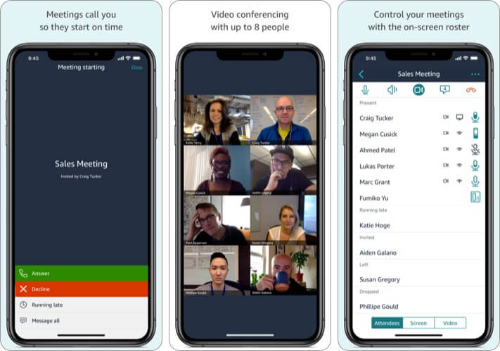 Amazon Chime Video Conference iPhone and iPad App Screenshot