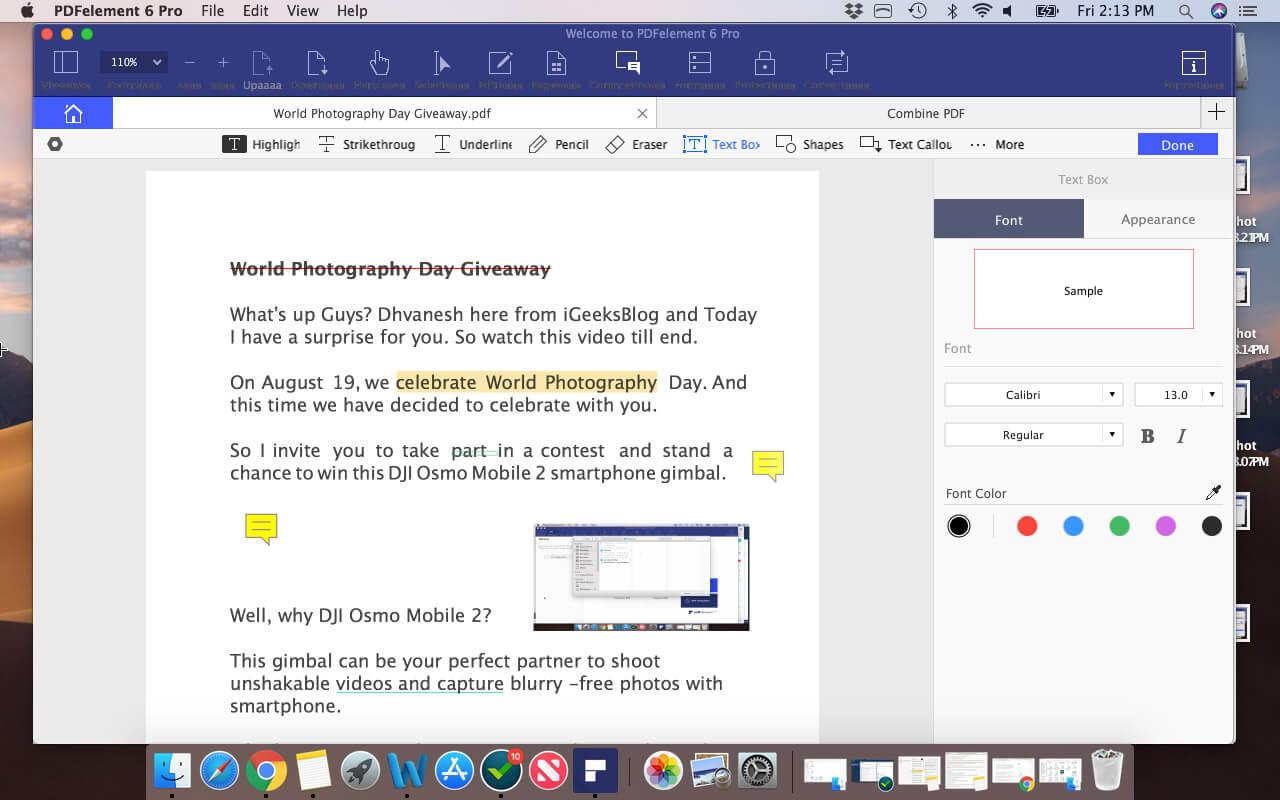 Annotate PDFs on Mac using PDFelement Pro
