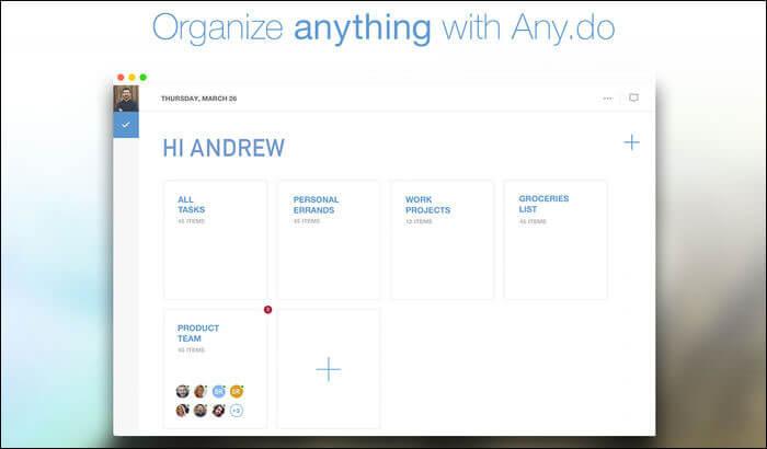 Any.do Mac Task Management App Screenshot
