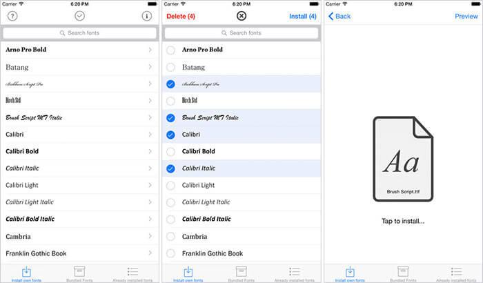 AnyFont iPhone and iPad App Screenshot