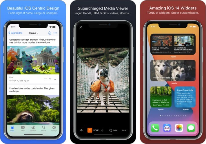 Скриншот виджетов домашнего экрана Apollo для Reddit iOS 14