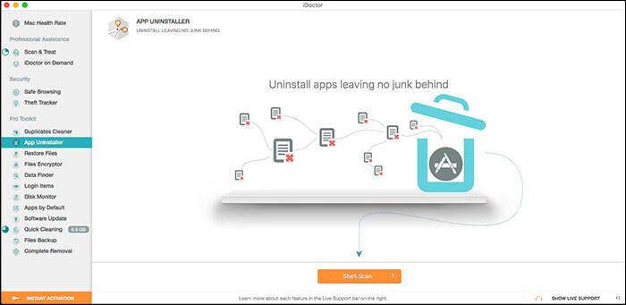 App Uninstaller Feature of iDoctor for Mac