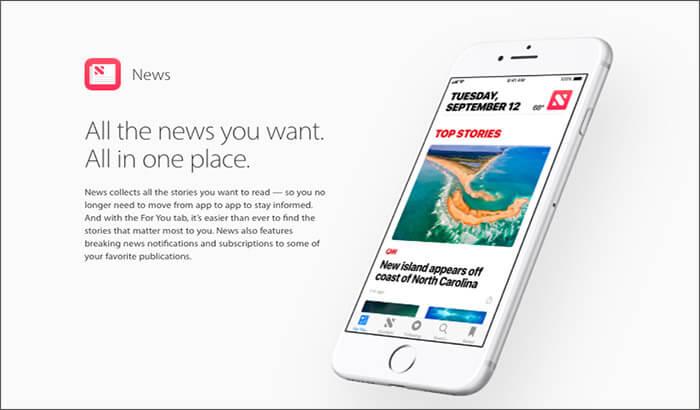Apple News iPhone and iPad App Screenshot