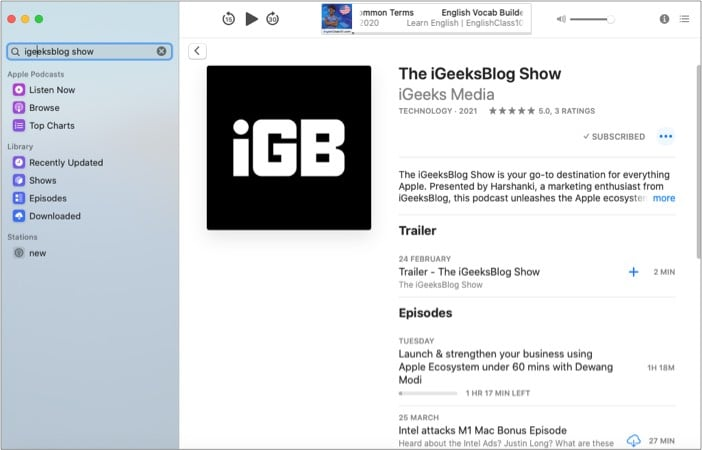 Apple Podcasts app for Mac