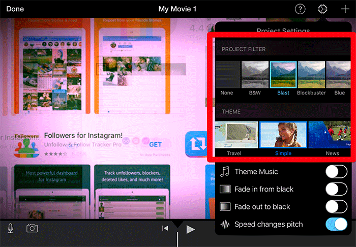 Apply Filters and Use Themes in iMovie on iPad