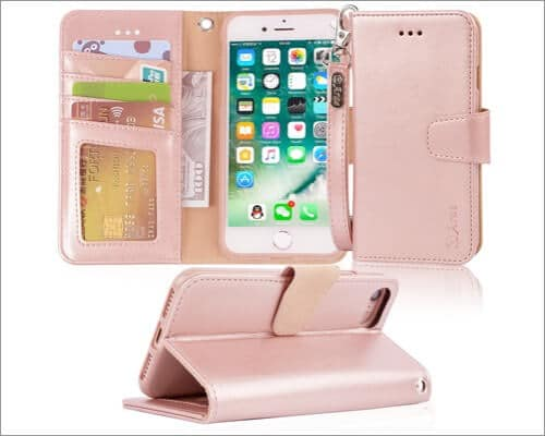 Arae Leather Wallet iPhone SE 2020 Case for Girls
