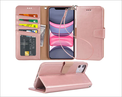 Arae iPhone 11 Leather Wallet Cheap Case