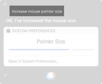 Bitten Sie Siri, die Größe des Mauszeigers auf dem Mac zu erhöhen