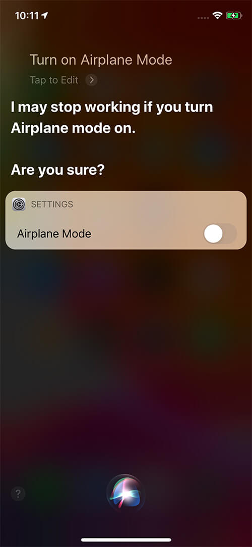 Ask Siri to Turn on Airplane Mode