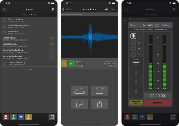 AudioShare iPhone and iPad App Screenshot