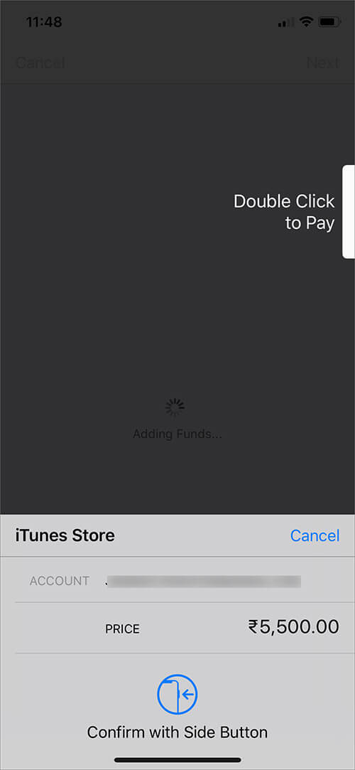 Authenticate the payment on iPhone or iPad