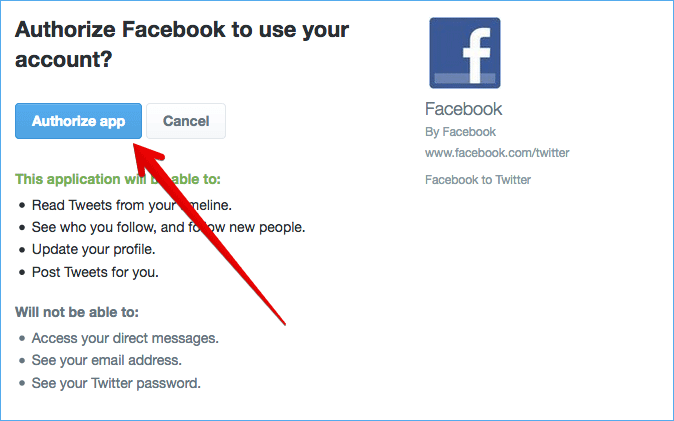Authorize Facebook to Use Twitter