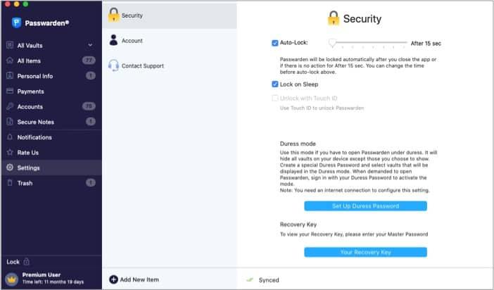Automatische Sperre in der Passwarden Mac App