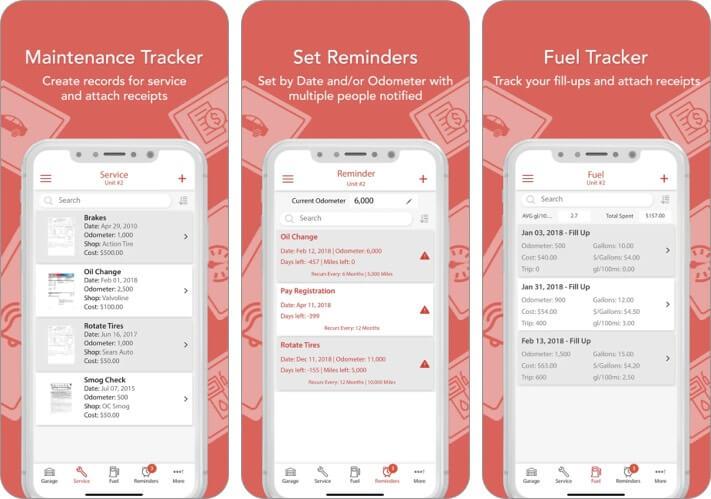 AutoSIST iPhone car maintenance apps screenshot