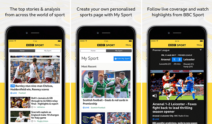 BBC Sport iPhone and iPad App Screenshot
