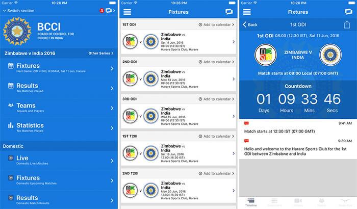 BCCI iPhone App Screenshot