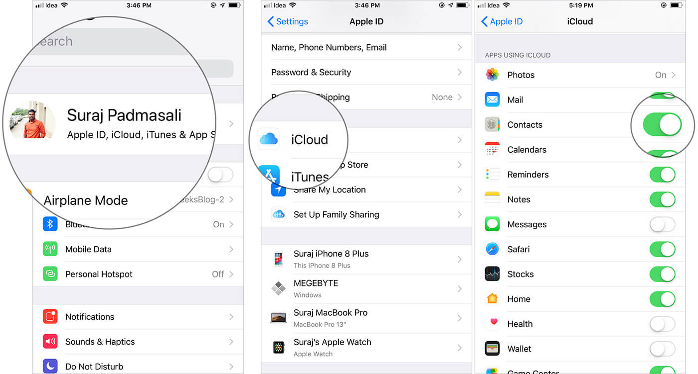 Backup Contacts using iCloud sync on iPhone
