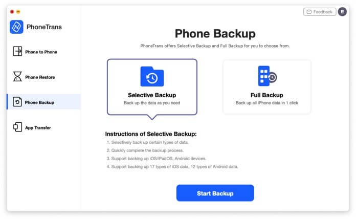 Backup options in PhoneTrans app to transfer iPhone data