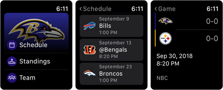 Baltimore Ravens Mobile Apple Watch Sports App Screenshot
