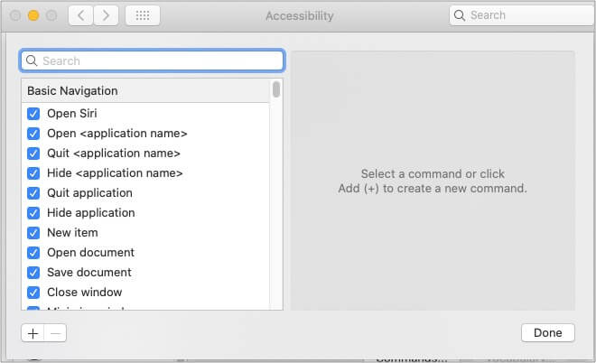 Basic commands of voice control on Mac