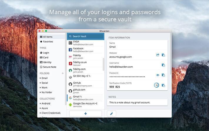 Bitwarden Mac Password Manager App