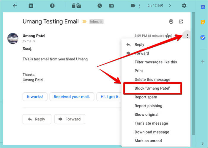 Block Someone in Gmail on Computer