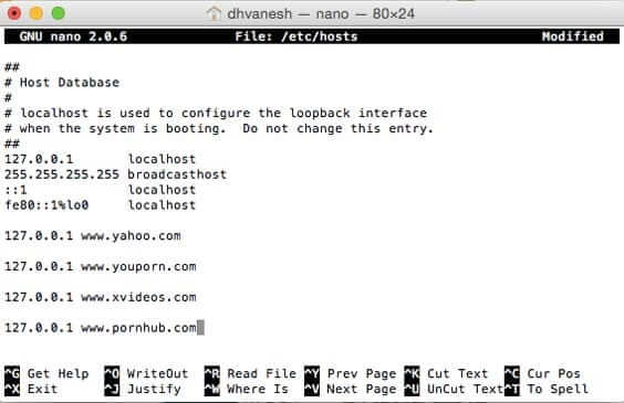 Block Websites on Safari Running Mac OS X Yosemite