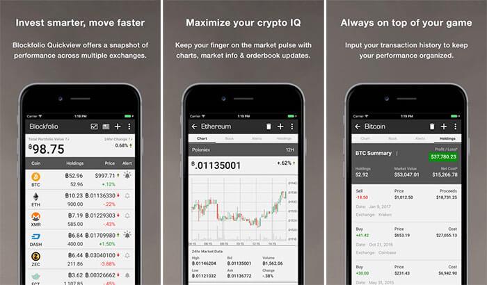 Blockfolio Bitcoin iPhone and iPad Cryptocurrency Trading App Screenshot