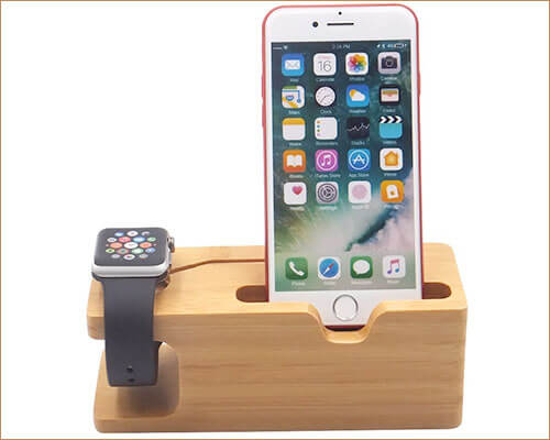 Blue Hole Wooden Docking Station for iPhone SE, 5s, and iPhone 5