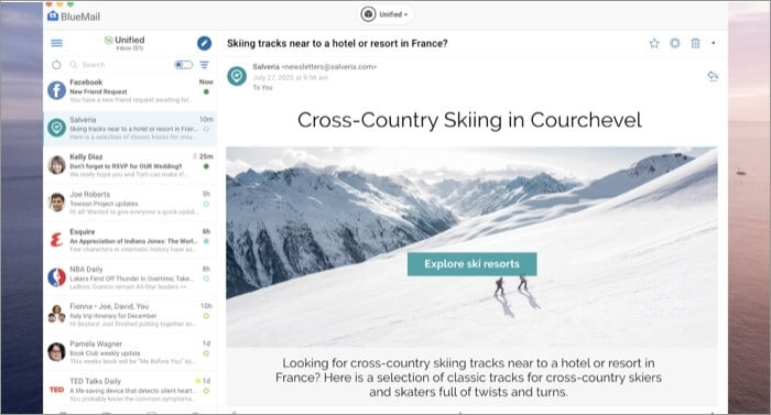 BlueMail Email Mac App Screenshot