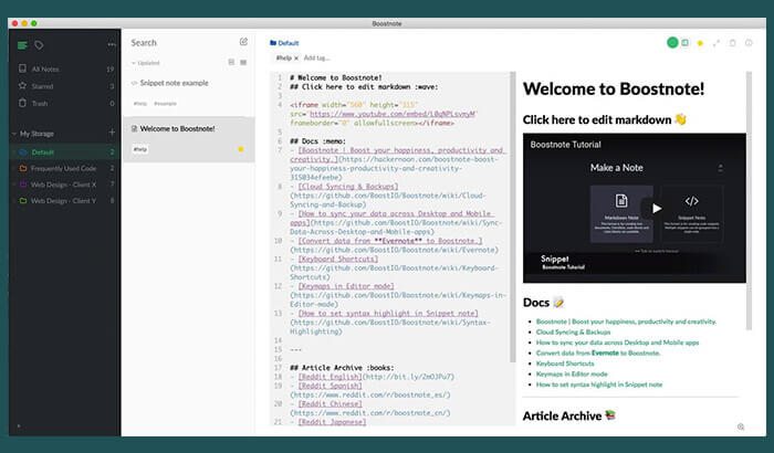 Boostnote Mac Note Taking App Screenshot